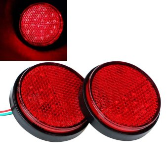 2pcs Motorcycle Rear Light Truck Reflector Light Car LED Tail Bumper Light Source Brake Stop Lamp Round - intl
