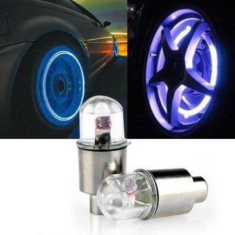 2PCS Multicolor LED Tyre Tire Valve Caps Car Motorcycle Neon Light Lamp Lights - intl