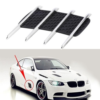 2pcs New Car Hood Side Flow Vent Fender Air Net Door Decals AutoSticker DIY Simulation Car Shark Gills Outlet Soft +ABS Plated -intl