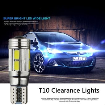 2pcs T10 W5W T16 LED Parking Clearance Lights Sidelight MarkerLamps Bulb No Error Canbus For Opel Agila Zafira Vectra Astra(WhiteLight) - intl