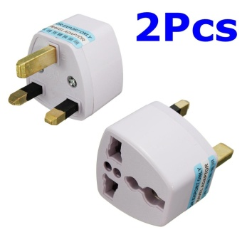 2pcs Universal US/EU To UK AC Power Travel Converter Adapter 3 Pins 110V-240V White - intl