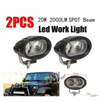 2pcs Wall E 4D 20W Motorcycle Led Fog Driving work Light(WHITE)