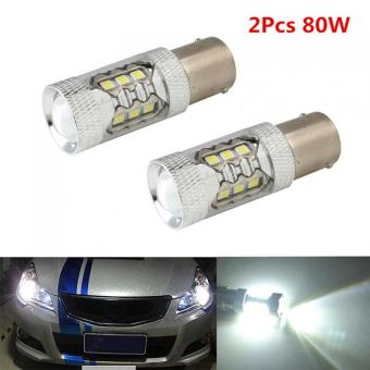 2pcs White CREE 16LED 80W 1156 BA15S LED Car Tail Turn ReverseLight - intl