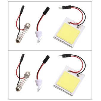 2pcs Xenon HID White 48 COB LED Dome Map Light Bulb Car Interior Panel Lamp - intl