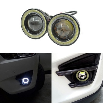 2Pcs/lot Car Fog lights Universal Waterproof 1200Lm Angel Eyes COBLED DRL Driving Lights 12V 30W Auto Fog Lamp Color:White - intl