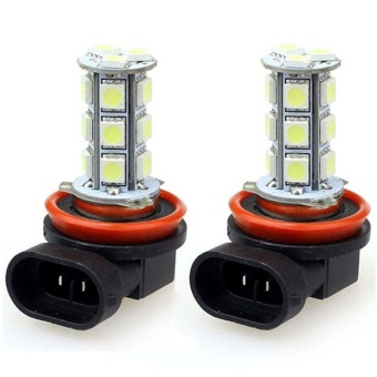 2x H11 H8 18 LED 5050 SMD Car Day Fog Head light Lamp Bulb Xenon White - intl