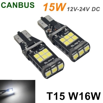 2X T5 W16W Bright 15 LED 3535SMD Chip Canbus Light Efficient White Durable Bulb - intl