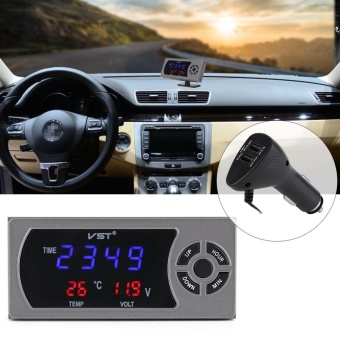 3 in 1 12-24V Car Vehicle LED Digital Clock Thermometer Voltmeter -intl