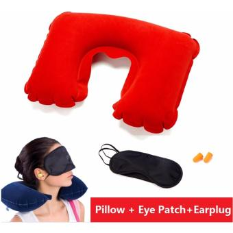 3 IN 1 Travel Essential Inflatable Pillow+Patch+Earplug Travel SetInflatable Neck Cushion Pillow + Eye Patch+Earplug for Travel