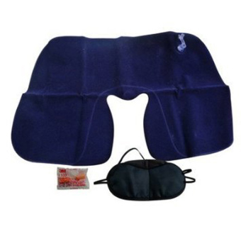 3 in 1 Travel Set Inflatable Neck Air Cushion Pillow + Eye Mask + 2Ear Plug Comfortable Business Trip