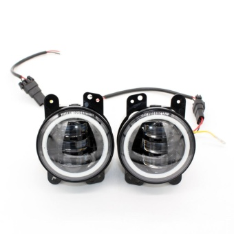 30W 4 Inch Car Led Fog Light Lamp Headlight High Power For OffroadJeep Wrangler Jk Harley Daymaker W/ Halo Ring Auto - intl