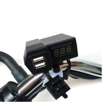 3.1A Motorcycle E-bike 2 in 1 Dual USB Port Phone Charger AndVoltmeter With waterproof cover #0475