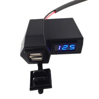 3.1A Motorcycle E-bike 2 in 1 Dual USB Port Phone Charger AndVoltmeter With waterproof cover #0475 - 3