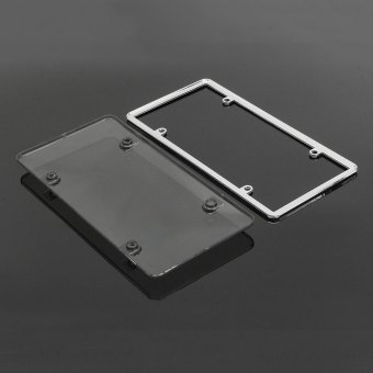 320872934595 CLEAR PLASTIC LICENSE PLATE SHIELD +BLACK FRAME bugcover tag protector plastic - intl - 2