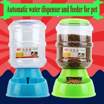3.5L Pet Dog Cat Automatic Feeder Bowl Food Device Bottle Dish(Green) - intl