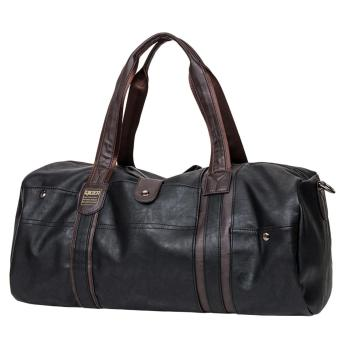 360WISH Man's Large Capacity PU Leather Duffel Tote Shoulder Handbag Travel Bag Gym Sports Bag - Black