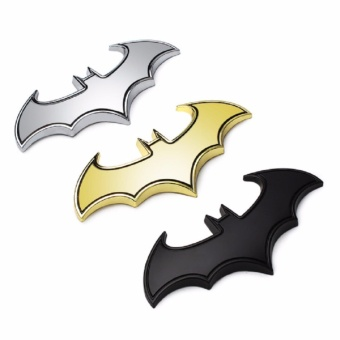 3D Cool Metal bat auto logo car styling car stickers metal batbadge emblem tail decal motorcycle car accessories (Black)