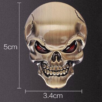3D Skull Zinc Alloy Metal Car Motorcycle Sticker Skull Emblem BadgeCar Styling Stickers Accessories Car Decoration (Gold)