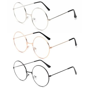3Pairs Unisex Retro Round Eyeglasses 3 Different Color Circle Metal Frame Clear Lens Glasses for Women Men - intl
