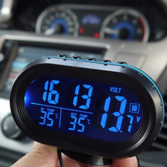 4 in 1 Digital Autos Car Clock Battery Voltmeter Voltage Meter Tester Monitor + electronic Clock Luminous Alert,Black - intl