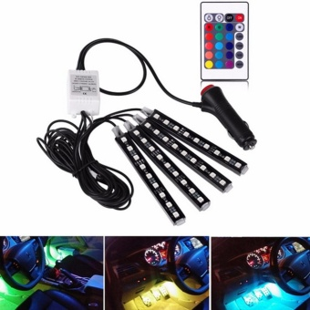 4-Piece Multicolor 36 LEDs Car Interior Atmosphere Strip Lights Car Decorative Lamp Waterproof Neon Decorative Light with Wireless Remote Control and Car Charger - intl