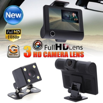 4.0 inch Dual Lens IPS Full HD 1080P Car DVR Rearview Video DashCam Recorder - intl