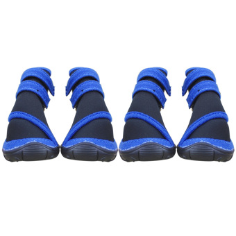 4PCS Waterproof Non Slip Rubber Sole Pet Rain Boots Shoes For PuppyDog Accessories Size M
