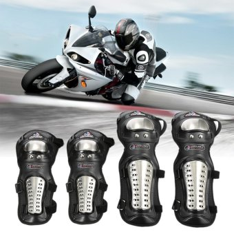 4pcs/set Stainless Steel Motorcycle ATV Racing Motocross Protective Gear Knee Protector Elbow Shin Pads Cap Guards