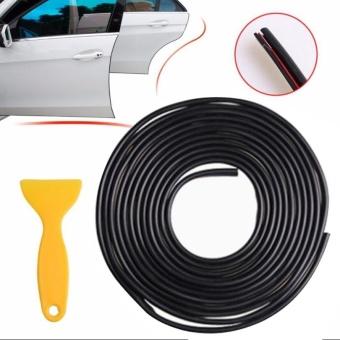 5 Meter Black Chrome Moulding Trim Strip Car Door Edge Lip Strip Guard Protector - intl