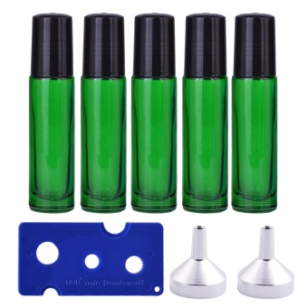 5 PCS 10ml Travel Portable Empty Refillable Roll On Glass BottlesVial + 2 PCS Transfer Funnel + 1 PCS Bottle Opener Set forFragrance Aromatherapy Essential Oil Perfume Cosmetics Green - intl
