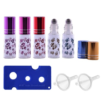 5 PCS 5ml Portable Empty Refillable Roll On Roller Ball ButterflyGlass Bottles Vial + 2 PCS Transfer Funnel + 1 PCS Bottle OpenerSet for Fragrance Aromatherapy Essential Oil Perfume - intl