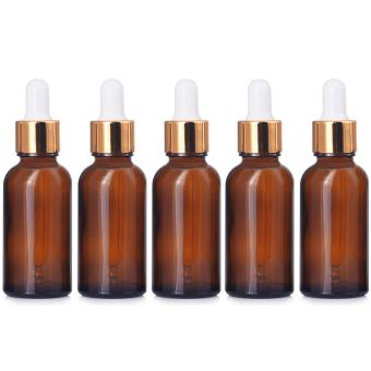 5 PCS Portable Travel 1oz/30ml Dark Brown Empty Refillable GlassBottles Essential Oil Perfume Liquid Lotion Containers Bottles withGolden Head Droppers - intl