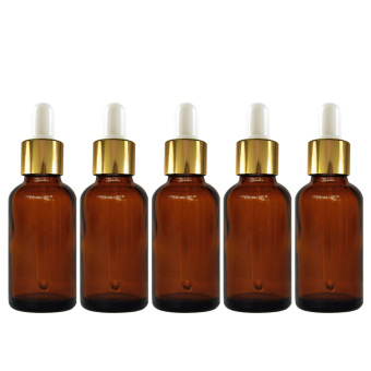 5 PCS Portable Travel 5ML Dark Brown Empty Refillable Glass Bottles Essential Oil Perfume Liquid Lotion Containers Bottles with White Head Droppers