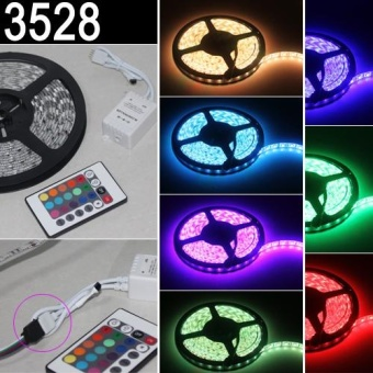 5M 12V 3528 RGB SMD 300 LED Strip Waterproof Flexible Light Rope Party XMAS - intl