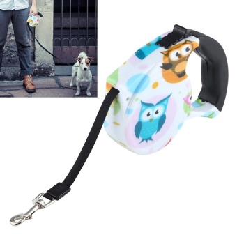 5m Owl Pattern Flexible Retractable Dog / Cat Leash For Daily Walking - intl