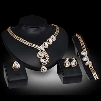 5pcs Set Necklace Earring Chain Bracelet Ring Alloy Dinner PartyJewelry Brand Design Jewelry For Women Gold Plated Crystal BridalPlatinum Rhinestone Diamond