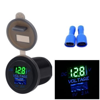 5V 2.1A USB Charger Socket Adapter Voltmeter Outlet For 12V 24V Motorcycle Car - intl