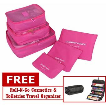 6 in 1 Travel Luggage Packing Bags (Hot Pink) with Free Roll-N-GoOrganizer