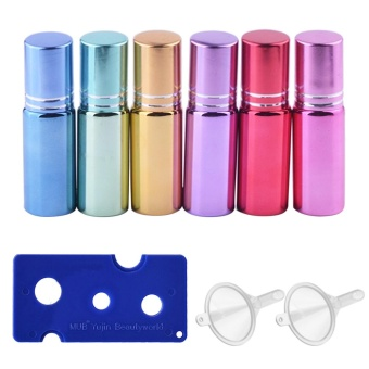 6 PCS 6 Colors Travel Portable Empty Refillable Roll On Roller BallGlass Bottles Vial + 2 PCS Transfer Funnel + 1 PCS Bottle OpenerSet for Fragrance Aromatherapy Essential Oil Perfume 5ml Capacity -intl