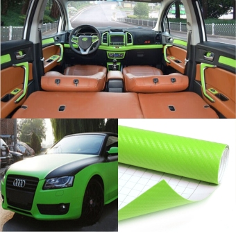 60*200cm DIY 3D Carbon Fiber Vinyl Car Truck Wrap Sheet Film Sticker Decal Roll(Green)