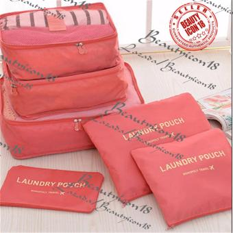 6pcs Storage Bags Packing Travel Luggage Organizer (Peach)