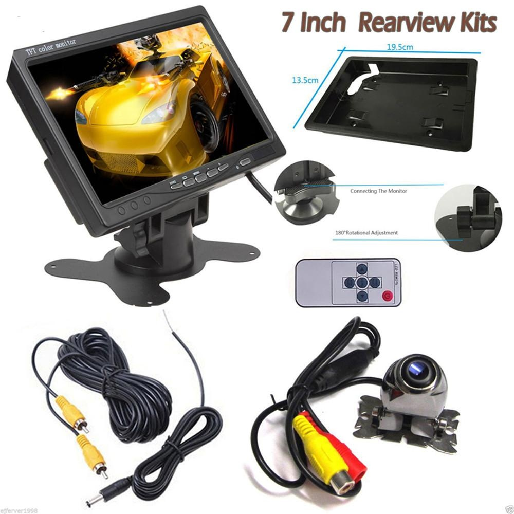 ... 7Inch TFT LCD HD Car Headrest Monitor 2 Video Input + Waterproof Mini Rear View 420TVL ...