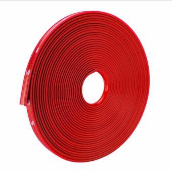 8M Car Wheel Rim Edge Protector Tire Rubber Guard Sticker LineStrip(Red) - 3