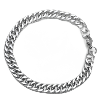 8MM Silver Tone Stainless Steel Flattened Curb Link Chain Bracelet22CM Long For Women Men - Intl