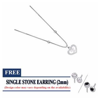 925 silver stone heart necklace (silver) small for ladies