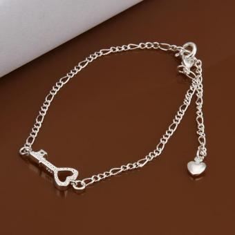 925 Sterling Silver Charm Anklets Heart Key Foot Bracelet Ankle Chain for Women - intl