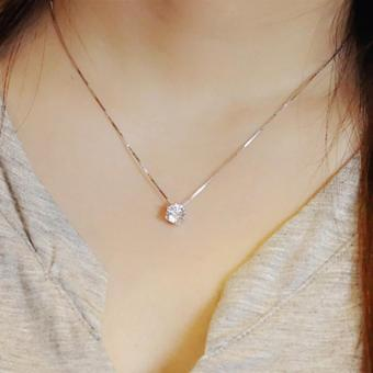 925 Sterling Silver Clavicle chain Zircon Pendant Necklace Fashion women - intl