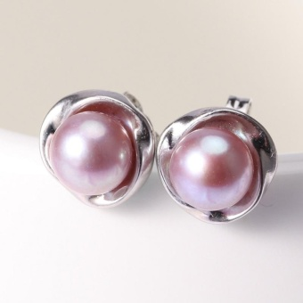 925 Sterling silver7-8mm Natural Freshwater Cultured Flower Shaped Pearl Earring - intl - 3