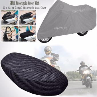 94 x 57 cm (LARGE) Anti-Slip and Anti-Heat Breathable MotorcycleSeat Cover (Black) With free SMALL Motorcycle Cover (Gray)