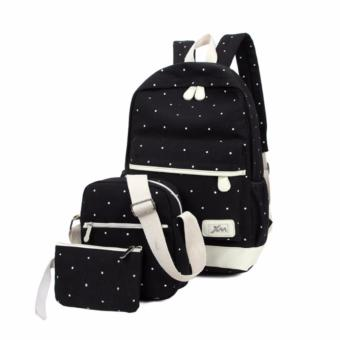 A three-piece han edition canvas backpack Black (Random Design)